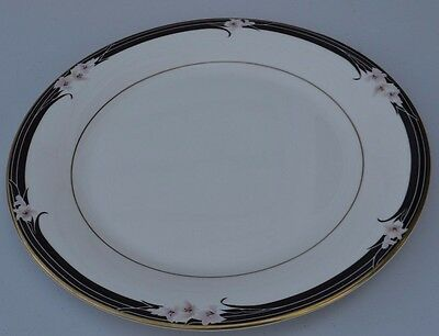 Royal Doulton 1 Dinner Plate Enchantment TC1156 Pink Flowers Black Band Gold