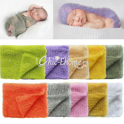 Newborn Baby Kid Mohair Crochet Knit Wrap Cloth Prop Photo Photography Backdrop