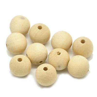 EW Round Wood Bead Rondelle Spacer Wooden Bead Natural Wood Bead Unfinished UK1