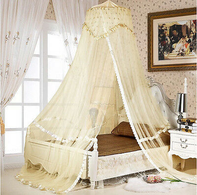 Beige Luxury Bed Dome Canopy Princess Round Mosquito Net Single Double King Size
