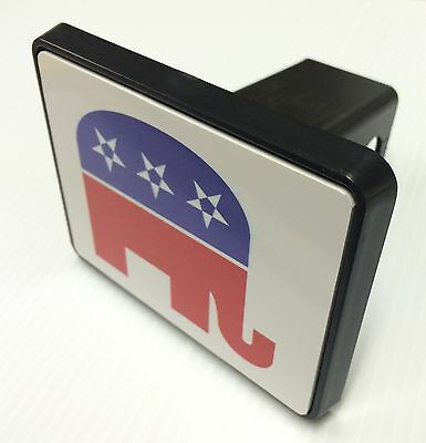 """Trailer Tow Hitch Cover Black for 2"""" Receiver Track Car SUV 5""""X4"""" Republican"""