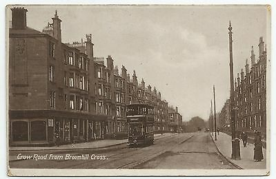 POSTCARD-SCOTLAND-GLASGOW-PTD. Crow Road from Broomhill Cross with Tram.