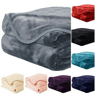 Luxury Large Super Soft Plain Mink Faux Fur Blanket Bed Sofa Throw