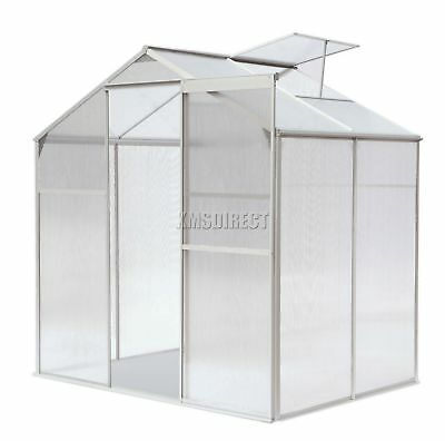 FoxHunter Polycarbonate Greenhouse Aluminium With Base Slide Door Silver 4x6FT