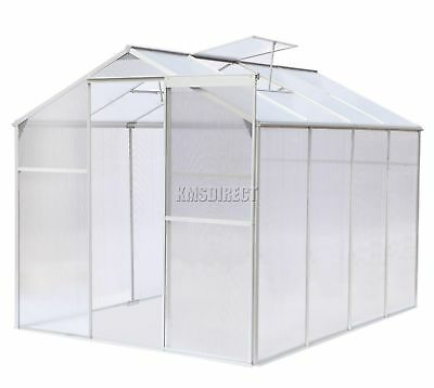 FoxHunter Polycarbonate Greenhouse Aluminium With Base Slide Door Silver 8x6FT