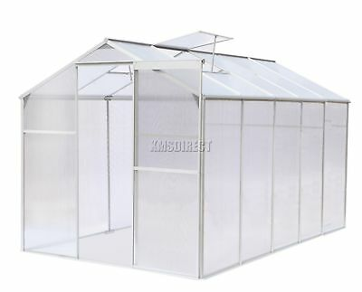 FoxHunter Polycarbonate Greenhouse Aluminium With Base Slide Door Silver 10x6FT