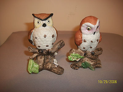 Lot of 2 Vintage Owl Figurines Bisque Porcelain by Brinn's Made in Taiwan