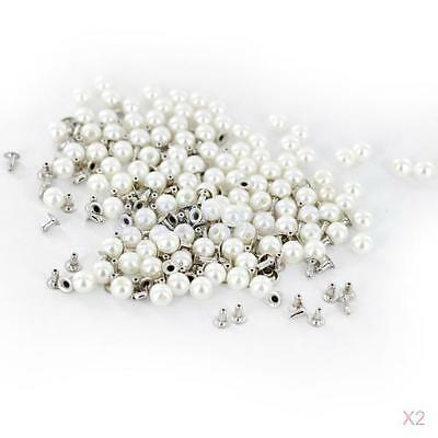 200set Pearls Rivets Studs Buttons for Leather Craft Dress Shoes Bag Ivory 8mm