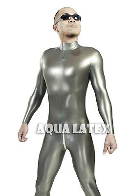 Metallic Silver Man Tight Fit Rubber Latex Catsuit with Round Neck and Back Zip