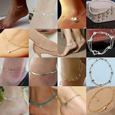 Women Sexy Crystal Anklet Ankle Bracelet Barefoot Sandal Beach Foot Jewelry Gift