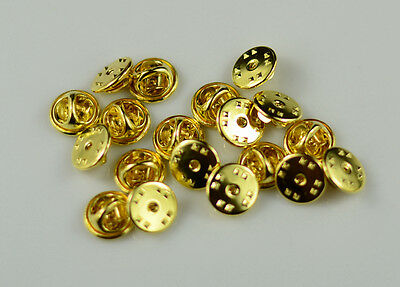 Lapel Pin Backs Metal Butterfly Clasps Pinback Clutches 50 PCS (Golden Color)