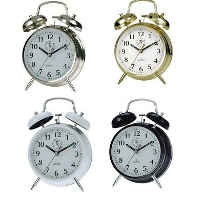 2x ACCTIM SAXON DOUBLE BELL WIND UP ALARM CLOCK TRADITIONAL KEYWOUND LOUD