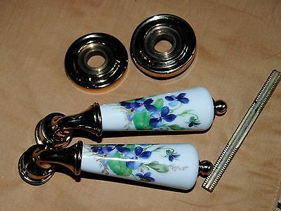 Set Pair porcelain J M Limoges door knob levers Door Hardware purple Violets #4