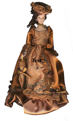 Porcelain Victorian Lady in Tan Dress & Hat, Doll House Miniature 1.12th Scale