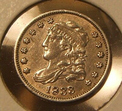 1833~~Capped Bust Half Dime~~Silver ~~Key Date~~Au Beauty