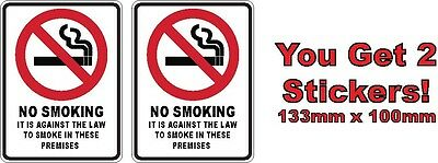 Two Warning No Smoking Stickers Sign Decal Public Safety WH&S OHS 133mm x 100mm