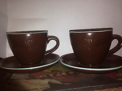 Bellagio Coffee Expresso Demitasse Cup and Saucer Brown Blue Set of 2