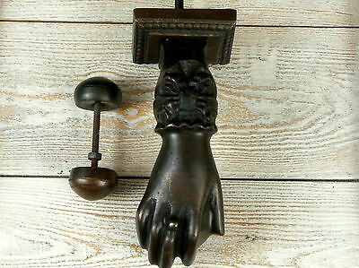 Antique Vintage Style Lady Womens Hand Solid Metal Brass Door Knocker Bell 6''