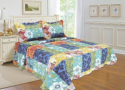 80-All For You 3Pc Reversible quilt set, bedspread, and coverlet set-reversible