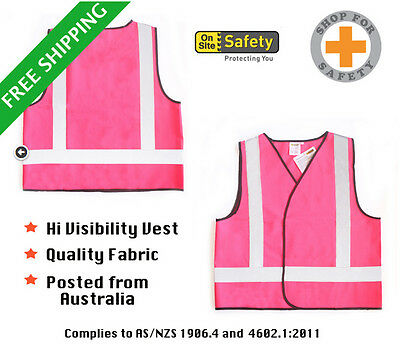 PINK HI VIS VEST Breathable Fabric ** Ships from Sydney ** great quality
