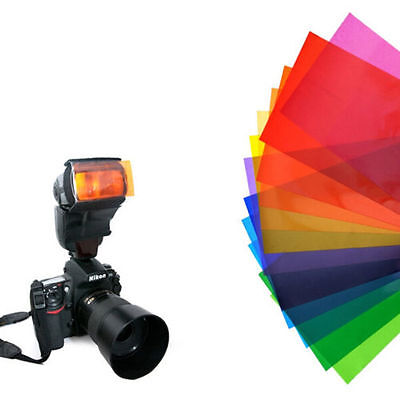 Useful FLash/Speedlite/Speedlight Color Gels Filter card For Camera 12 Colours