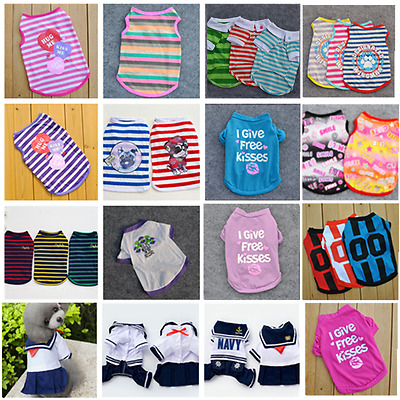 Puppy Dog Stripe Vest Clothes Small Cat Pet Cool Summer T-shirt Apparel Costumes