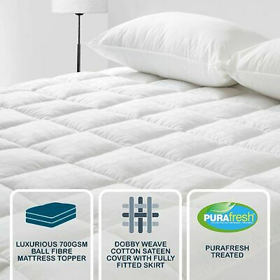 DREAMAKER Luxury 700GSM Ball Fibre Mattress Topper/Underlay (All Sizes)