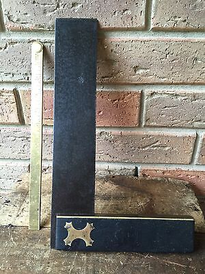 Vintage Hand Tools EBONY Large Joiners SQUARE Old Antique Marking Tool #10