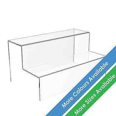 2 Step Tier Display Stand Acrylic Jewellery Riser Plastic Retail Shop Plinth