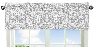 Gray and White Damask Window Valance Curtain for Sweet Jojo Skylar Bedding Sets