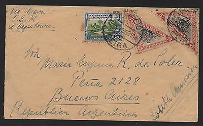 Mozambique & Co Scott #176 & 187 x 2 On Cover To Argentina 1939