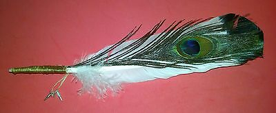 Authentic Sinew Wrapped Feather Smudge Wand w/ Peacock 3 Tibetan Silver Charms