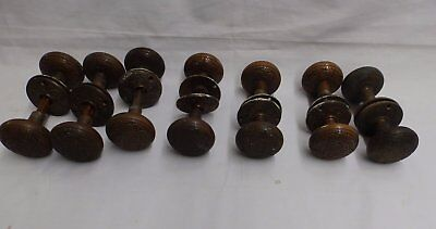 1 Decorative Antique Brass Door Knob Set Matching Escutcheons Eastlake 4723-15