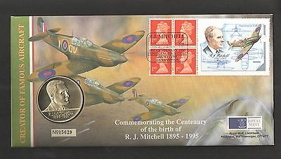HB9 RJ Mitchell Booklet Pane on 1995 Royal Mint Numismatic Cover