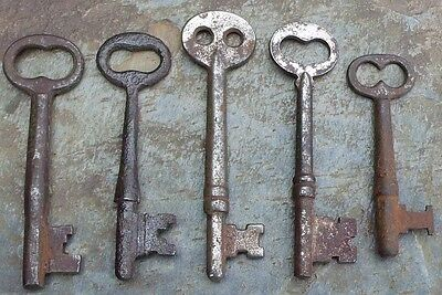 Five (5) Rusty Antique  Mortise Lock Skeleton Keys  Antique Door Keys