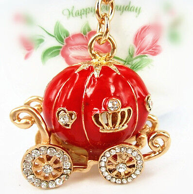 Fashion Red Pumpkin Carriage New Pendent Charm Crystal Key Ring Halloween Gift