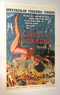 CIRCUS OF HORRORS 1960 ONE SHEET MOVIE POSTER vintage horror LINEN gga pinup