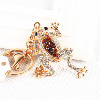 Cute Frog Crown Lovely Pendent Crystal Purse Bag Keyring Key Chain Creative Gift