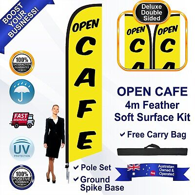 OPEN CAFE Yellow 4m Feather Flag/Banner Kit with Spike *Outdoor *UV Protected