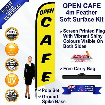 OPEN CAFE Yellow 4m Feather Flag Kit Outdoor Ground Spike Swooper Banner Sign