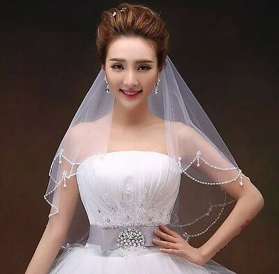 Bridal Wedding White Veil 2 Tier Handmade Elbow Beads And Pearls With Comb