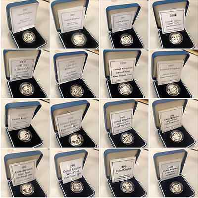 Silver Proof £1 One Pound Coins Choice Of Year 1983 To 2015 With Coa
