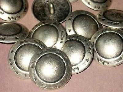 Set 12 Vintage Antiqued SILVER MeTaL new Fancy Buttons 7/8""