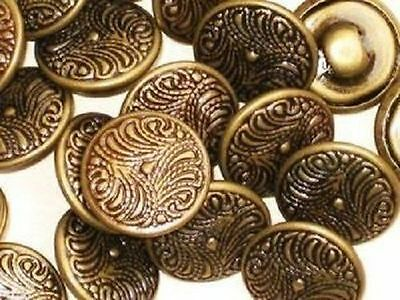 """Lot 21 ORNATE Fancy Vintage New Antiqued Brass Set Small buttons 1/2"""""""