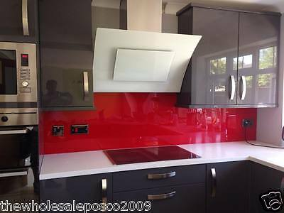 Red Plastic Acrylic Perspex Splashback Upstand for Kitchens & Bathrooms