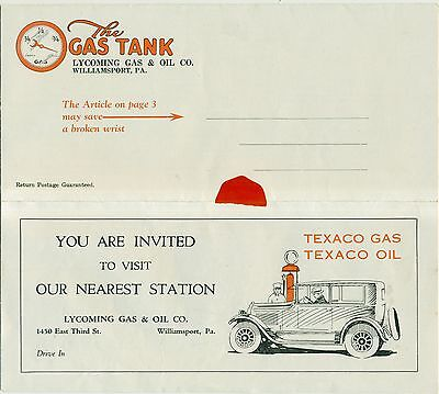 "1926 Lycoming Gas & Oil Co./Texaco ""The Gas Tank"" Newsletter - Williamsport,PA"