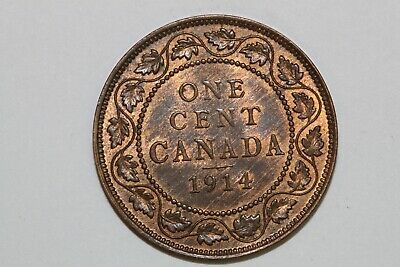 A 1914 Super Slider Canada One Cent Piece That Grades About Uncirculated (CA557)