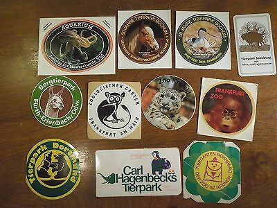 Lot of Germany Aquarium Zoo Stickers- From Photographed to Illustrated Animals