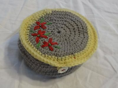 Vintage Hand Crochet Box Container of Darning Cotton Thread