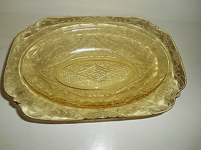 """Lovely Amber Madrid 10"""" Oval Vegetable Bowl by Federal Glass"""